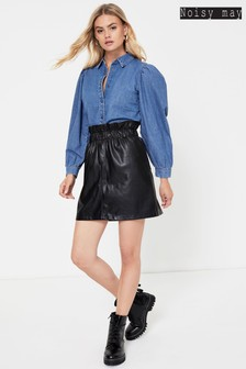 Noisy May Faux Leather Mini Skirt