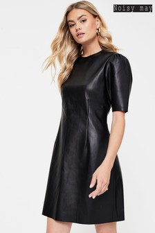 Noisy May Puff Sleeve Faux Leather Mini Dress