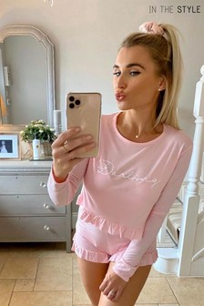 In The Style Billie Faiers 'Darling' Slogan Frill Hem Top And Shorts Pyjama Set