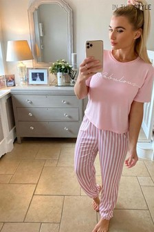 In The Style Billie Faiers 'Fabulous' Slogan T-Shirt And Striped Trousers Pyjama Set