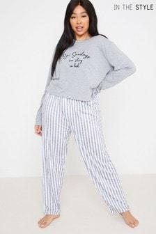 In The Style Curve Billie Faiers Pyjamaset mit langärmeligem Shirt mit On Sundays We Stay In Bed-Schriftzug und gestreifter Hose
