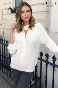 Lipsy Cable Twist Front Keyhole Jumper