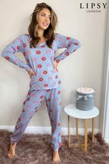 Lipsy Jersey Printed PJ Set