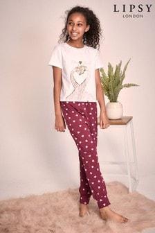 סט פיג'מה עם מכנסיים ארוכים וחולצה עם שרוול קצר לבנות של Lipsy