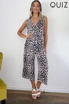 Quiz Leopard Print Tie Back Jumpsuit