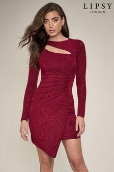 Блестящее платье мини с вырезом Lipsy