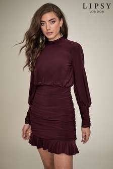 Lipsy Ruched Flippy Hem Dress