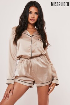 Missguided Satin Piped Short Pyjama Set