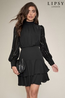 Lipsy Sequin Sleeve Tiered Dress
