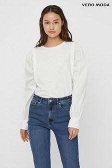 Vero Moda Puff Woven Sleeve Sweatshirt