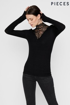 Pieces Lace High Neck Top