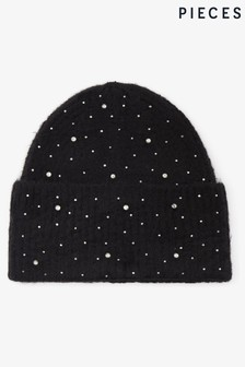 Pieces Diamante Knitted Beanie Hat