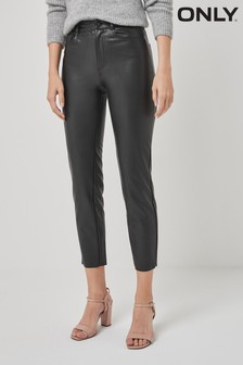 """Only High Waisted Faux Leather Trousers 32"""" Leg"""
