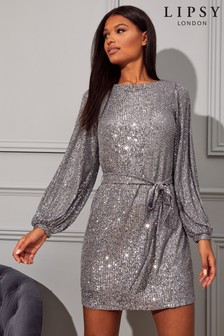 Lipsy Sequin Tie Mini Dress