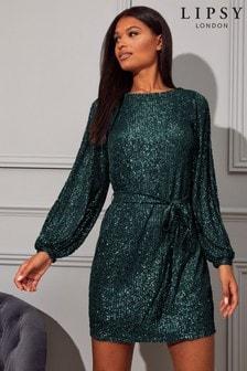 Lipsy Sequin Tie Mini Dress