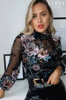 Lipsy Velvet Floral Burnout Blouse