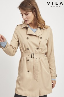 Vila Button Up Trench Coat
