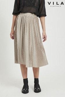 Vila Pleated Midi Skirt