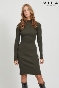 Vila Knitted Dress With Button Detail