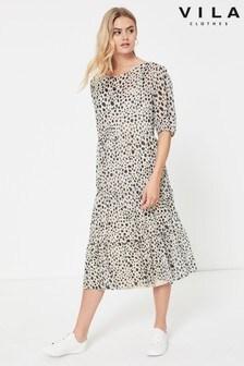 Vila Animal Print Puff Sleeve Midi Dress