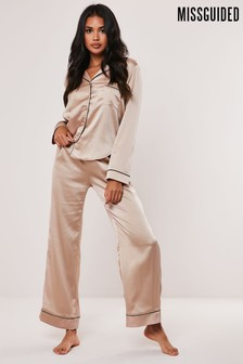 Missguided Mink Long Sleeve Trouser PJ Set