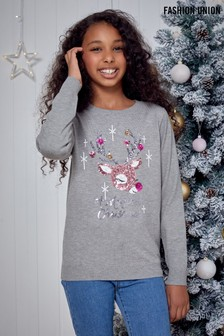 Fashion Union Girls Crew Neck Knit Christmas Jumper