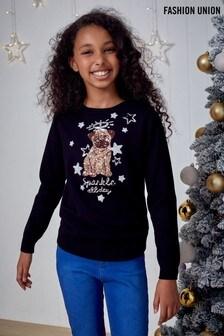 Pull de Noël Fashion Union fille en maille ras du cou