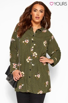 Yours Curve Floral Spot Long Sleeve Shirt