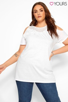 Yours Curve Lace Yoke Cold Shoulder Tee