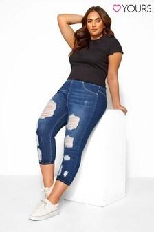 טייץ ג'ינס 3/4 של Yours למידות גדולות בגימור קרוע ומשופשף