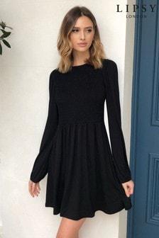שמלה מתרחבת עם כיווצים של Lipsy