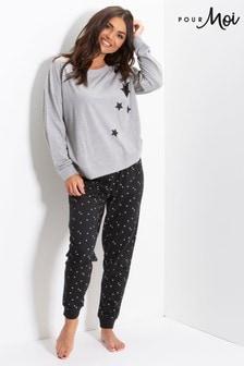 Pour Moi Star Print Jersey Jogger Pyjama Set