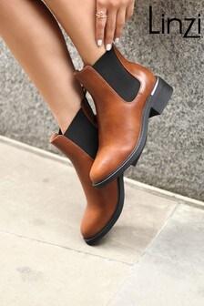 Linzi Myth PU Trim Heel Chelsea Boot