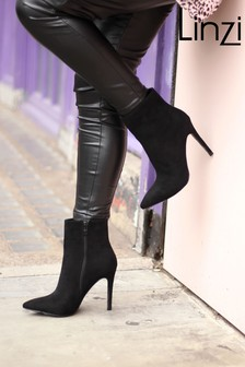 Linzi Jasmin Suede Pointed Stiletto Boot Heel