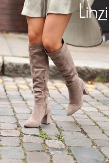 Linzi Faux Suede Block Heel Knee High Ruched Boot With Pointed Toe