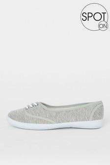 帆布點點平底運動鞋