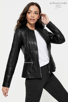 Urban Code Collarless Leather Jacket
