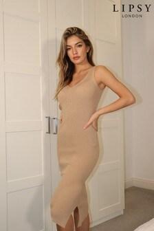 שמלת מידי של Lipsy במרקם ריב סרוג עם מפתח וי