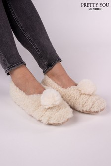 Pretty You London - Dora - Pantofole con pompon