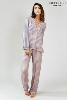 Pretty You London Stripe Pyjama Set