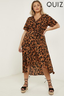 Quiz Curve Animal Print Wrap Midi Dress