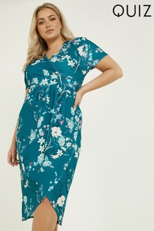 Quiz Curve Teal Floral Short Sleeve Wrap Midi Dress