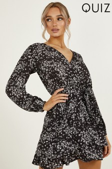 Quiz Ditsy Floral Print Wrap Skater Dress With V neck