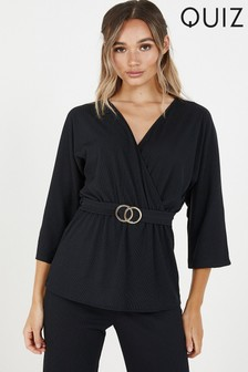 Quiz Ribbed Buckel Top With Batwing Sleeve And V neck