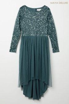 Mini Maya Long Sleeve Delicate Sequin Dress With High Low Hem