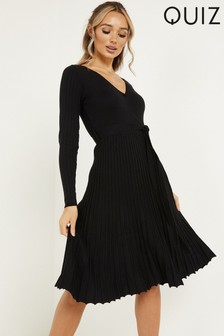 Quiz Knit Ribbed Wrap Dress With Pleated Skirt And Tie Belt