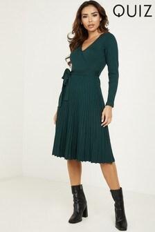 Quiz Knit Ribbed Wrap Dress