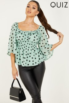Quiz Polka Dot Floaty Sleeve Top With Square Neck