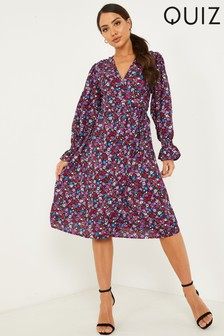 Quiz Ditsy Floral Print Puff Sleeve Midi Dress With Elasticated Cuff And Tie Waist