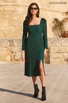 Sosandar Ruched Sleeve Dress